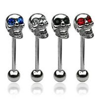 GOTHIC 316L STEEL SKULL TONGUE BAR WITH GEM EYES **CHOOSE COLOUR**16MM PIERCING
