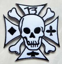 #40 Iron Cross No.13 Crossbones Skull Embroidered Iron on Patch Free Shipping