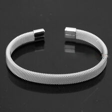 Mens Boys Modern Simple Silver Tone Stainless Steel Mesh Cuff Bangle Bracelet