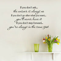 IF YOU DON'T ASK Quote Wall Sticker Vinyl Decor Inspirational Saying Wall Decal