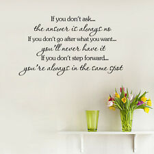 IF YOU DON'T ASK Quote Wall Sticker Inspirational Saying Home Removable Decal