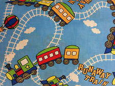 RUNAWAY TRAIN FAT QUARTER FABRIC MATERIAL NURSERY CURTAINS BAGS BUNTING GIFT