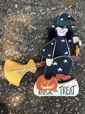 THE WITCH IS IN Trick Or Treat Wall Hanging Door Decor  ON HER BROOM Unique Doll