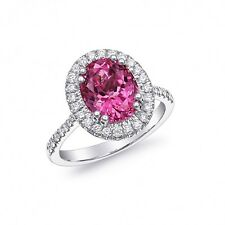 Natural Unheated Pink Spinel 3.42 cts set in 18K White Gold Ring with Diamonds