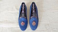 RARE! $695 Polo Ralph Lauren Blue Nubuck Suede Leather Slippers Loafers Shoes