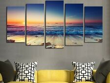 Modern Abstract Oil Painting Wall Decor Art Huge - Beach Sunset Waves Beautiful