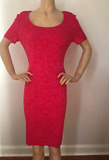 NEW ST JOHN KNIT WOMENS SIZE 12 PINK CERISE & GRANITA RAISED KNIT SHEATH RAYON