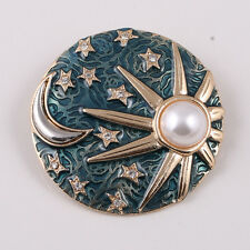 New Fashion Blue Enamel Round Sun and Moon Pin Brooch Nice Quality