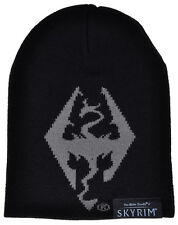 Elder Scrolls V Skyrim Beanie Logo Video Game Acrylic Hat Black Mens Apparel
