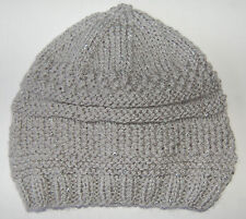 Hand-knitted Baby Hat - Silver Grey with Sparkle - Newborn