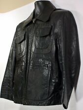 "VTG William Barry ""SCORE ONE"" Black Leather Jacket Casual Designer Mens Sz 42"
