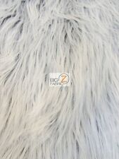 SOLID GORILLA MONKEY SHAGGY FAUX FUR FABRIC - GREY FROST - BY YARD COATS SCARF