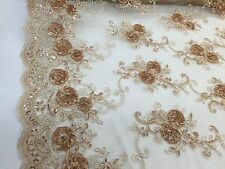 Caramel 3D Flowers Embroider On A Mesh Lace With Sequins.wedding/bridal Fabric.