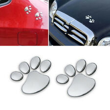 2X Car Sticker 3D Dog Bear Footprints Chrome Badge Emblem Decals