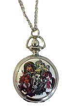 "Monster High Full Cast Pocket Watch Pendant Necklace with 30"" Chain"