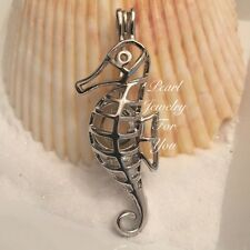 SEAHORSE Wish Pearl Cage Silver Pendant for akoya oyster pearls or beads