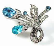 BROOCH Swarovski ELMT Crystal PIN fashion Wedding Flower Gold plated Blue Silver