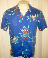 Vtg Small MAGNUM PI Blue Tom Selleck Button SHIRT Hawaiian Paradise Found PARROT