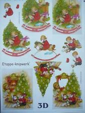 Christmas 3D Paper Tole Sheet Children Opening Presents
