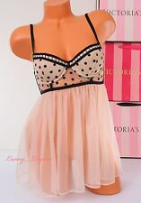 NWT Victoria's Secret Lingerie Fly-away VS Babydoll Lined 34C Beige w Black Dot