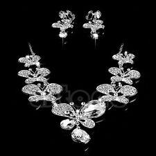 Women Wedding Party Necklace Butterfly Rhinestone Pendant Earrings Jewelry Set