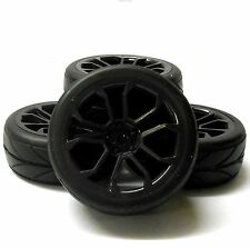 HS211031B 1/10 Scale RC Car On Road Wheel V Tread Tyre Black Plastic V Spoke x 4