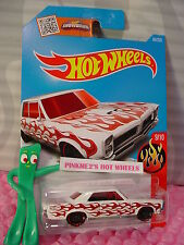 Case G/H 2016 i Hot Wheels '65 PONTIAC GTO #99✰White/Chrome/Red✰Flames✰1:64