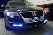 GOLF MK5 vw polo DRL 9 LED LIGHTS WHITE FOG STRIPS GRILL DAYTIME RUNNING bumper