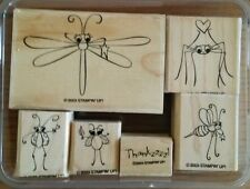 Stampin' Up CUTE AS A BUG Set 6 Rubber Stamps Lot Dragonfly Spider Ladybug Bee