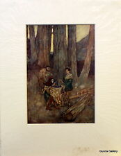Vintage Print  Edmund Dulac c1908  mounted ready to frame The Tempest Trinculo