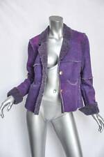 CHANEL IDENTIFICATION 00A Womens Purple Shearling Patchwork Jacket Coat 38/6