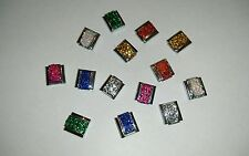 VARIOUS colours glittery, Italian 9mm charm to fit nomination bracelet