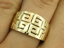 R002 Genuine 9ct Yellow GOLD Grecian-Key WIDE Band Ring Dress Ring size P / 7.75