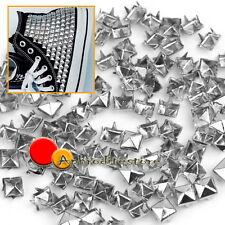 100 Borchie Sfuse PIRAMIDE Quadrato Argento 6mm Bricolage Borse Scarpe Bracciali