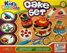 KIDS DOUGH CAKE SET MODELLING PLAY SET / DOH TUBS FOOD MOULDING / CHILDREN