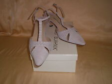 AUTH. MANOLO BLAHNIK LAVENDER SHOES KITTEN HEELS ANKLE STRAP WH STITCHING 10B 40
