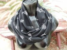 circle loop infinity scarf chiffon fashion African leopard big cat print black