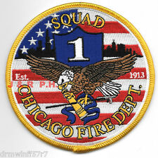 "Chicago  Squad-1, IL  Yellow Border  (4"" round size) fire patch"