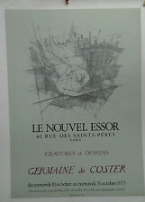 AFFICHE ORIGINALE ANCIENNE EXPOSITION GERMAINE DE COSTER GALERIE PARIS 1973