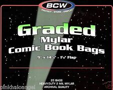 "10 Graded Comic Book Mylar Bags - 2 Mil - NEW - CGC CBCS SLAB  - 9"" Wide BCW"