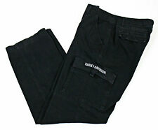 Harley Davidson Motorcycles Mens Solid Black Cargo Pants 34 x 34 (33x33 Actual)