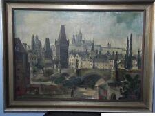 altes Ölgemälde Öl Gemälde Prag Karlsbrücke sign. Rudolf ? Fuchs Goldene Stadt