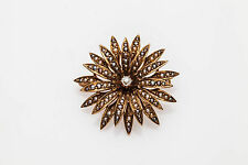 Antique Victorian 1800s Natural Pearl Diamond 14k Gold SUN STAR Pin Brooch