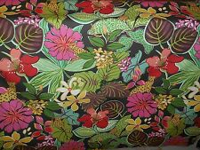 GREEN PINK BLACK GOLD TROPICAL JUNGLE FLORAL DRAPERY UPHOLSTERY FABRIC 3.5 yard