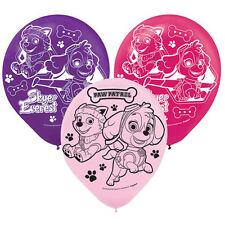 PAW PATROL GIRL LATEX BALLOONS (6) ~ Birthday Party Supplies Decorations Helium
