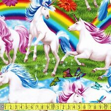 Timeless Treasures Fabric Scenic Rainbows & Unicorns PER METRE Unicorn Rainbow F