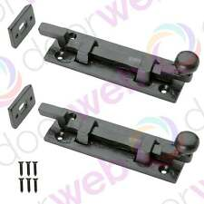 2 PACK BLACK DOOR BOLTS Antique Iron Necked Slide Sliding Heavy Bolt Lock 100mm