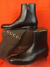 NIB GUCCI CORK BLACK LEATHER SCRIPT LOGO ZIP ANKLE BOOTS 8.5 9.5 $895 ITALY