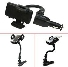 Car Cigarette Lighter Mount Stand Holder + 2 USB Port Charger For Cell Phone