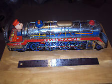 Vintage Silver Mountain Train Engine * 3525 * Made in Japan * Modern Toys Tin *